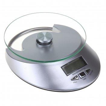 Весы электронные кухонные до 5 кг, встроенные часы