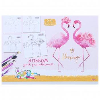 Альбом для рисования а4, 24 листа на скрепке «пара фламинго», бумажная обл