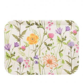 Поднос сервировочный луговые цветы 43*32*2см. (бамбуковое волокно) (упаков