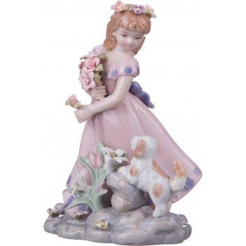 Статуэтка девочка с собачкой ширина=9 см. высота=15 см. (кор=18шт.)