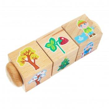 Кубики деревянные на оси времена года 3 кубика