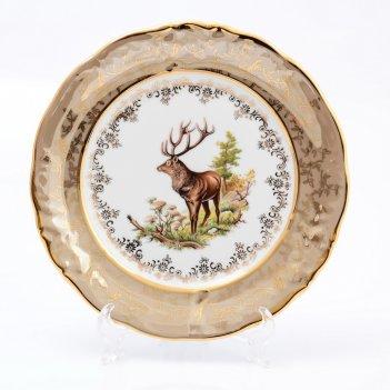 Набор тарелок sterne porcelan охота бежевая 21 см(6 шт)