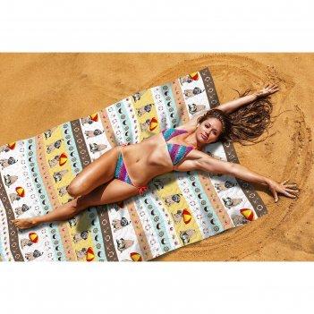 Пляжное покрывало «мопсы», размер 145 x 200 см