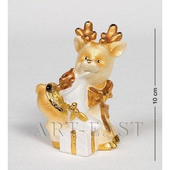 15665 фигурка гипсовая олень золото