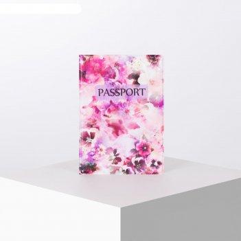 Обложка для паспорта 9,5*0,5*13,5см,розовые цветы