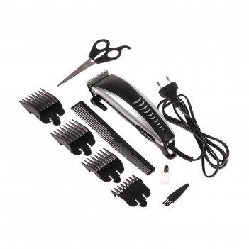 Машинка для стрижки волос luazon lst-12, 15 вт, 4 насадки, серебристо-чёрн