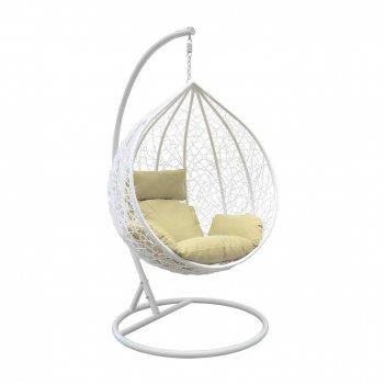 Подвесное кресло leset altar white ми, каркас белый, подушка зелёная