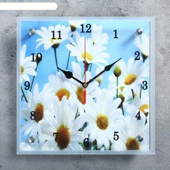 Часы настенные, серия: цветы, ромашки 25х25 см