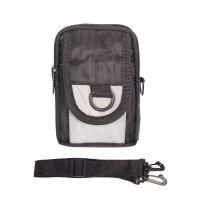 Сумка поясная, 2 отдела, наружный карман, длинный ремень, цвет чёрный/серы