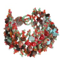 Браслет-плетенка самоцвет крошка, бисер