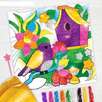 Фреска песком сказочный сад + 9 цветов песка по 4 гр, блёстки, стека