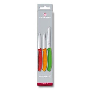 Набор из 3 ножей для овощей victorinox: красный нож 8 см, оранжевый нож 8