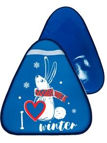 Мт13517 сани-ледянка треугольная зайчик цвет голубой, 42*48см