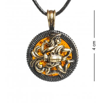 Am-1180 подвеска знак зодиака-водолей (латунь, янтарь)