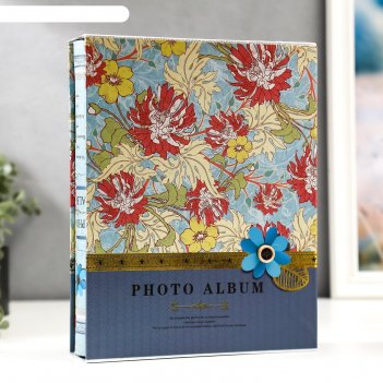 Фотоальбом на 200 фото 10х15 см цветы и листья в коробке микс 26,5х20,7х5,