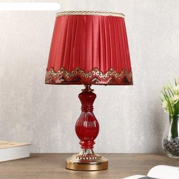 Лампа настольная милан 1х40вт е27 золото-красный 24х24х43 см.