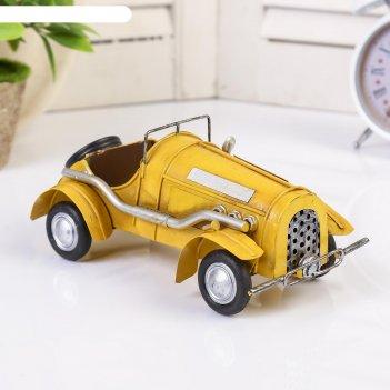Сувенир металл ретро кар жёлтый 8х20х10 см