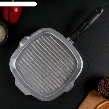 Сковорода-гриль квадратная 260х260мм с ручкой
