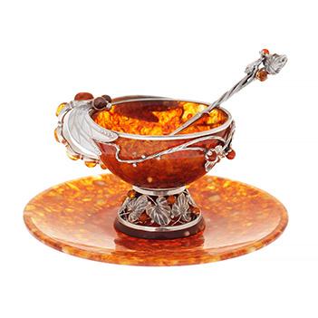 Чайная чашка из янтаря стрекоза на 2 персоны