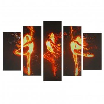 Модульная картина на подрамнике огненный танец, 2 — 25x53, 2 — 25x67, 1 —