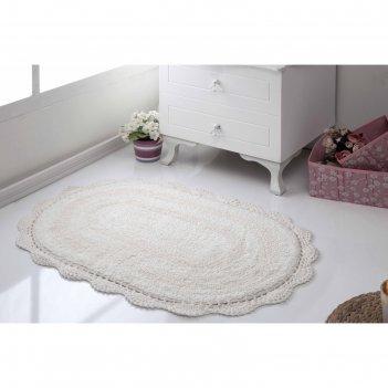 Коврик для ванной овальный diana, размер 50х80 см, цвет кремовый 5086