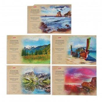 Альбом для рисования а4, 48 листов на гребне «планета земля», обложка мело