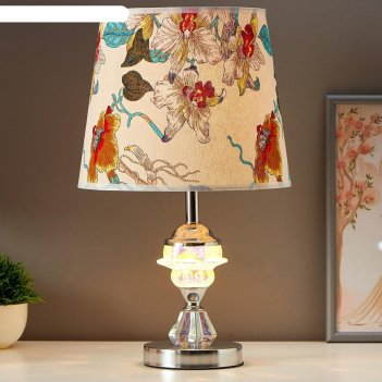 Лампа настольная хрустальный цветок 1x60вт e27 хром 25х25х42 см.