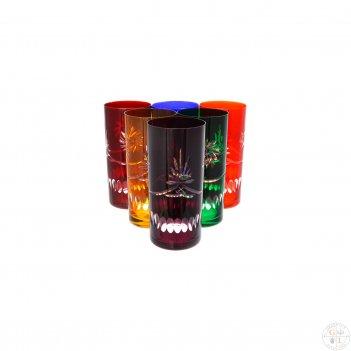Набор стаканов для воды bohemia цветной хрусталь 350 мл(6 шт)