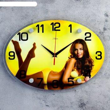 Часы настенные, серия: люди, девушка в желтом купальнике, 24х34  см, микс