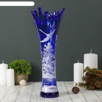 Ваза коралл, дерево, синяя, ручная роспись