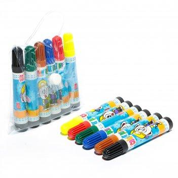 Фломастеры, 6 цветов, «школа талантов», для творчества, в сумочке, вентили