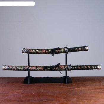 Катаны сувенирные 2в1 на подставке, золотые узоры