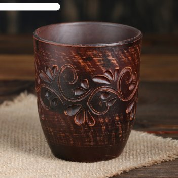 Стакан катан новый красная глина декор