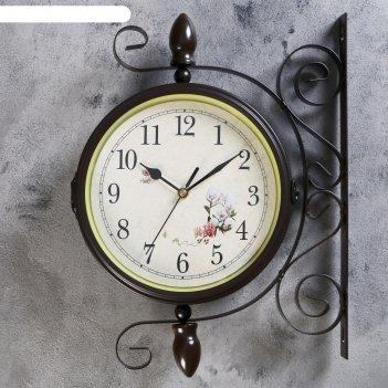 Часы настенные двойные, серия: садовые, голубые розы, d=19 см