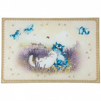 Доска разделочная синие коты. лаванада 20*30*0.4 см (кор=24шт.)