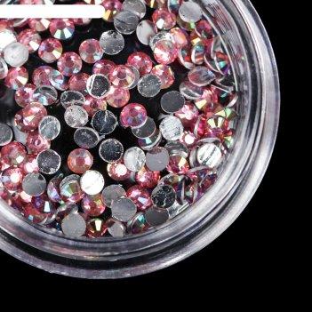 Стразы для ногтей, 2 мм, цвет розовый