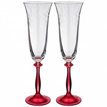 Набор бокалов для шампанского из 2 шт. love red 180 мл. высота 25 см