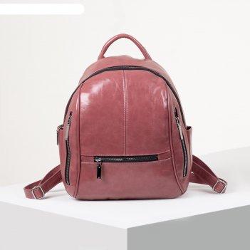 Рюкзак молодёжный, отдел на молнии, 6 наружных карманов, цвет розовый