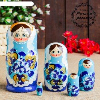 Матрёшка платье в горошек, синяя, 5 кукольная
