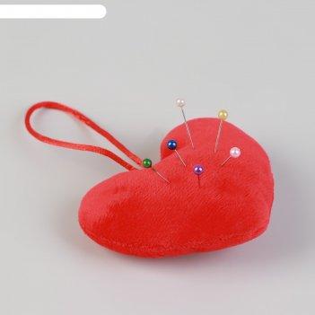 Игольница с петлёй сердце, цвет красный