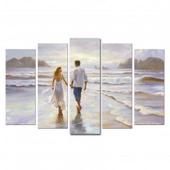 Модульная картина на подрамнике влюблённые на берегу 2-25х64, 2-25х71,1-25