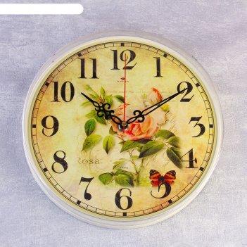 Часы настенные круглые роза и бабочки, 25 см