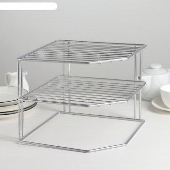 Подставка для посуды, 2 яруса, цвет хром