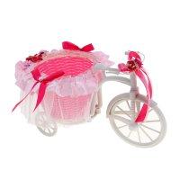 Корзина декоративная велосипед с кашпо и розовыми бантиками