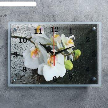 Часы настенные прямоугольные белая орхидея, 25х35 см