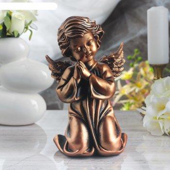 Статуэтка ангел молящийся в платье бронзовый цвет, 25 см