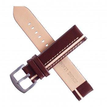 Ремешок для часов bugert 20 мм, натуральная кожа, l=20 см, коричневый с бе