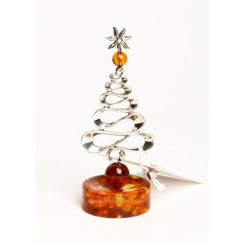 Сувенир из янтаря новогодняя ель