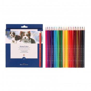Карандаши 24 цвета easycolor, трехгранные
