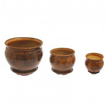 Набор кашпо 3 шт.  элегант коричневый: 15л, 5,5л, 2л
